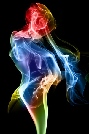rainbow people: Female figure formed of fine smoke on a black background.