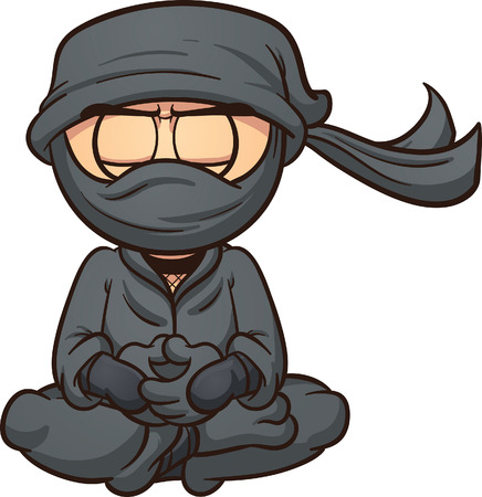 ninja: Meditating cartoon ninja. Vector clip art illustration with simple gradients. Ninja and masks clothes are on separate layers.