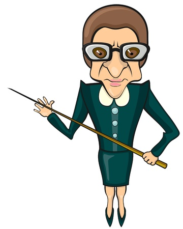 strict teacher: Bad tempered female full size teacher with pointer  Illustration