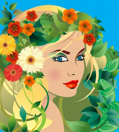 Summer Goddess  Young Blonde Woman with Summer flowers in her Hair Stock Vector - 18868519