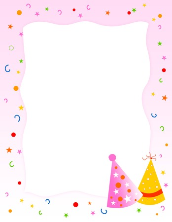 birthday party invitation greeting card cute pink background