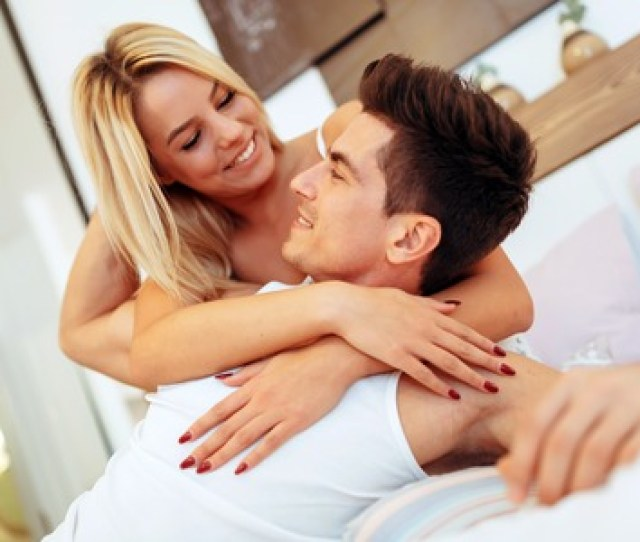 Passionate Beautiful Couple In Bedroom Enjoying Foreplay Stock Photo Picture And Royalty Free Image Image