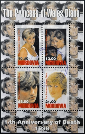 princess di: MORDOVIA - CIRCA 1998 Collection stamps printed in Mordovia shows the princess of Wales, Diana, circa 1998 Editorial