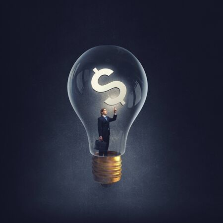man holding luminous idea