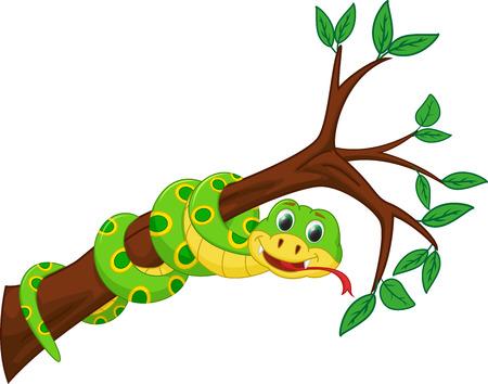 mascotte serpent mignon dessin anime serpent sur la branche illustration