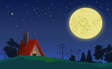 Country cottage in full moon starry night landscape Stock Vector - 35568229