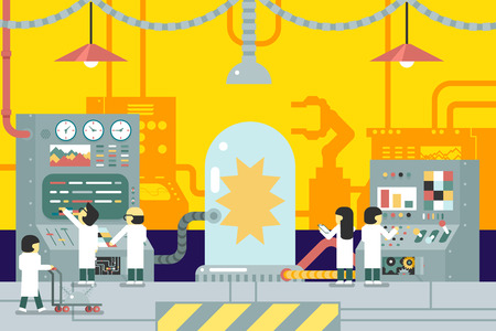SCIENCE SCIENTISTS THEORIES ICONS SYMBOLS: scientific laboratory experiments experience scientists work in front of control panel analysis production development study business flat design concept illustration