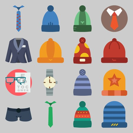 Icon set about man clothes with short winter hat and snellen chart stock also rh rf