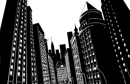 empire silhouette: Drawing of city in black with white background