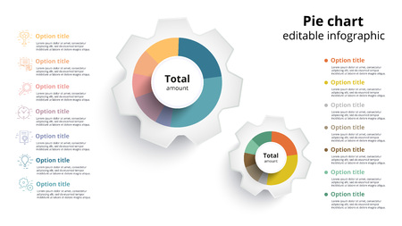 Business pie chart info graphics with editable segments circle corporate graph elements also rh rf