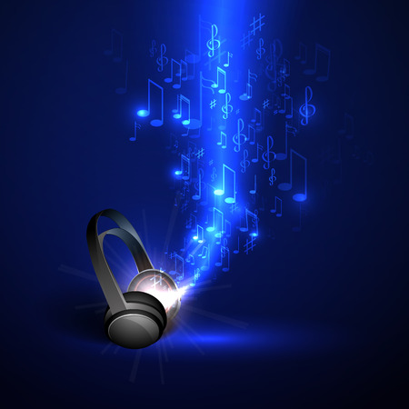 music: Abstract music background headphones and glowing waves, musical notes.