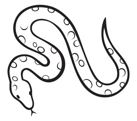 Serpent Dessin Serpent Noir Isole Sur Fond Blanc Illustration
