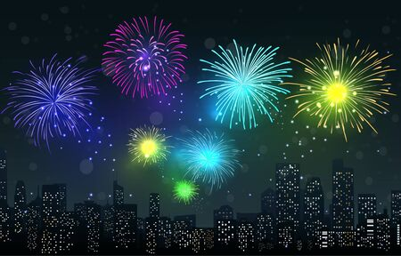Vector Illustration of Fireworks on city night scene Stock Vector - 27932827