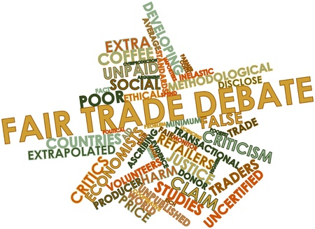 Abstract word cloud for Fair trade debate with related tags and terms Stock Photo - 17427397