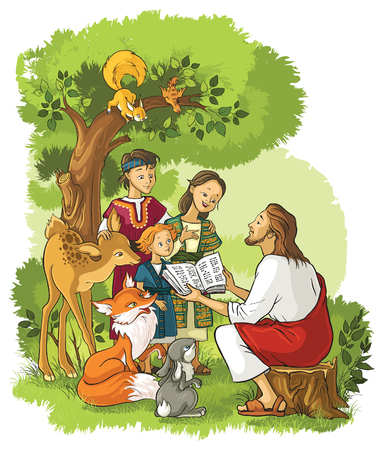 Jesus With Children and animals. Also available outlined version Stock Vector - 68223319