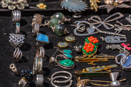 Silver jewelry with stones Stock Photo - 40006617