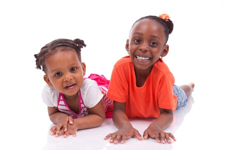 Cute little african american girl - Black children , isolated on white background Stock Photo - 19671930