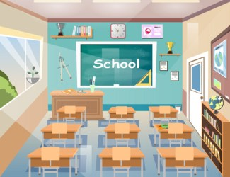 Vector Cartoon Empty Elementary Or High School College University Royalty Free Cliparts Vectors And Stock Illustration Image 94719287