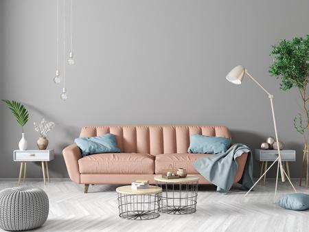 modern interior design of apartment living room with peach sofa