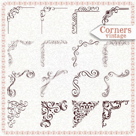 Vintage design elements corners and borders also corner stock photos images rf rh
