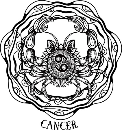 Tribal Cancer Zodiac Sign Tattoo