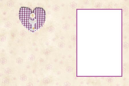 ma carte d invitation pour la premiere communion fille avec cadre vide pour mettre une photo et de l espace pour l ecriture