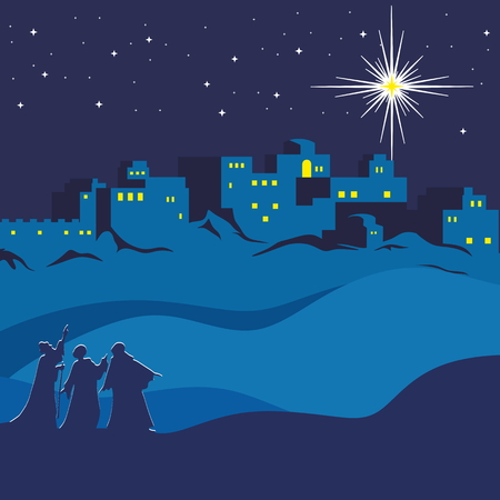 bethlehem christmas: Christmas. Night Bethlehem, wise men following the star of Bethlehem Illustration