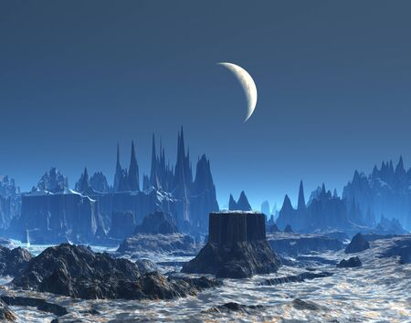 New Moon over Blue Planet Stock Photo - 17585287