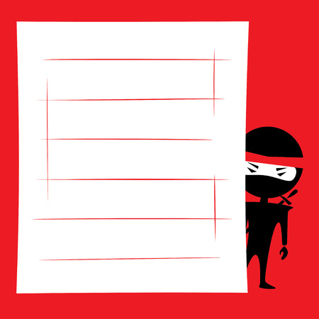 Vector illustration of cartoon ninja hiding and spying. Place for text on a white background. Red, black and white colors. Stock Vector - 43269339