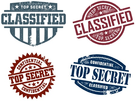 spy: Top Secret Classified Stamps Illustration