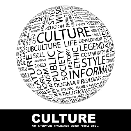 cultural symbols icons: CULTURE. Globe with different association terms. Wordcloud vector illustration. Illustration
