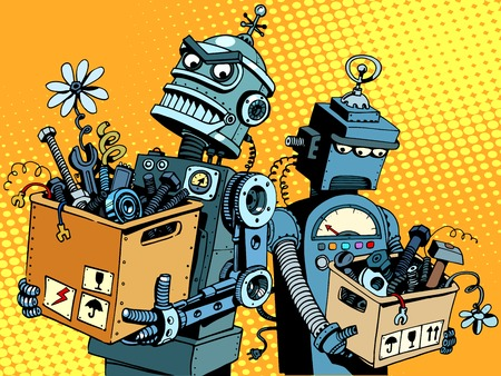 science and tech: Competition of gadgets and new technologies pop art retro style. Evil robot comes to work. Sad robot retires