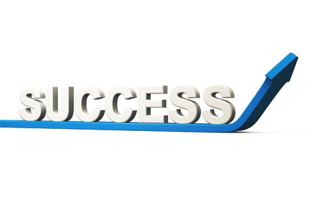career coach: Business concept SUCCESS - 3D Blue Arrow Stock Photo