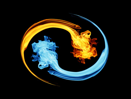yin yang symbol: Yin-yang symbol, ice and fire Stock Photo