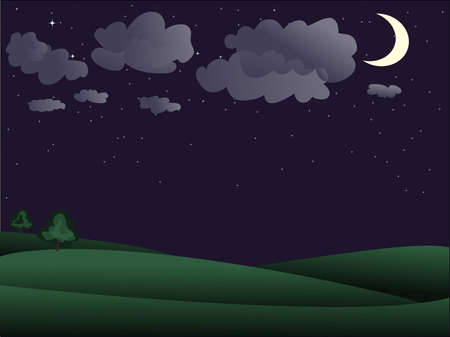 Night scenery - Two tree away and sky studded with stars Stock Vector - 7988722
