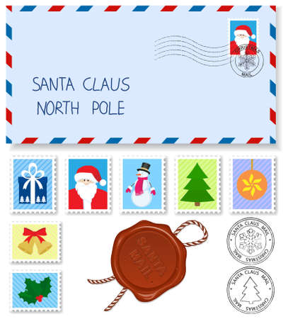 xmas icons: decoration elements stamps and postage marks for letter to santa claus Illustration