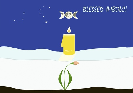 Greeting card to important Wiccan sabbath Imbolc, or Candlemas Stock Photo - 17084347