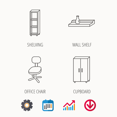 Office chair cupboard and shelving icons wall shelf linear sign calendar graph also rh rf