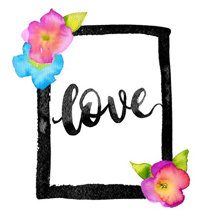 Hand drawn watercolor Love frame with bright summer flowers Stock Photo - 52533106