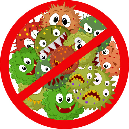 Stop virus cartoon Stock Vector - 35858633