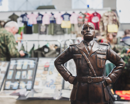 BENITO MUSSOLINI: MILAN, ITALY - MAY 18: Mussolinis statue on display at Militalia, exhibition dedicated to militaria collectors and military associations on MAY 18, 2014 in Milan.