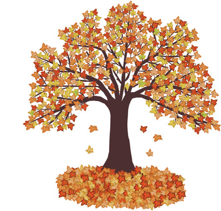 Autumn Leaves and tree - vector illustration Stock Vector - 571143