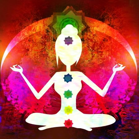 Yoga lotus pose. Padmasana with colored chakra points.  Stock Photo - 16719243