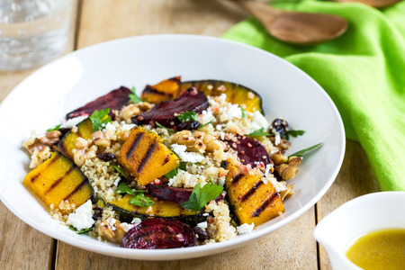vegetable salad: Quinoa with grilled pumpkin and beetroot salad by vinaigrette Stock Photo