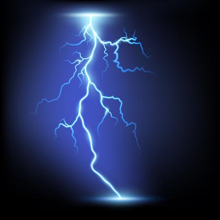 orage: Foudre. Isolé sur un fond noir. Image vectorielle. Illustration