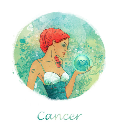 Illustration of cancer zodiac sign as a beautiful girl  Stock Illustration - 24531742