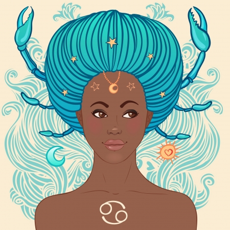 Zodiac beautiful girls set (African American version). Cancer.  Stock Vector - 24674874