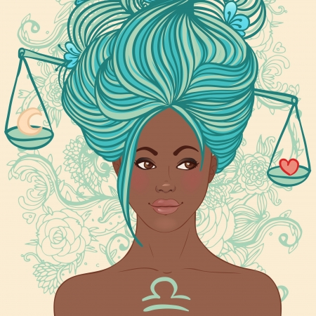 Zodiac beautiful girls set (African American version). Libra.  Stock Vector - 24674890