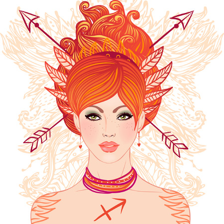 Sagittarius astrological sign as a beautiful girl. Vector illustration.  Stock Vector - 24674898