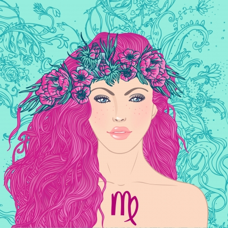 Illustration of virgo astrological sign as a beautiful girl. Vector art. Stock Vector - 24674908